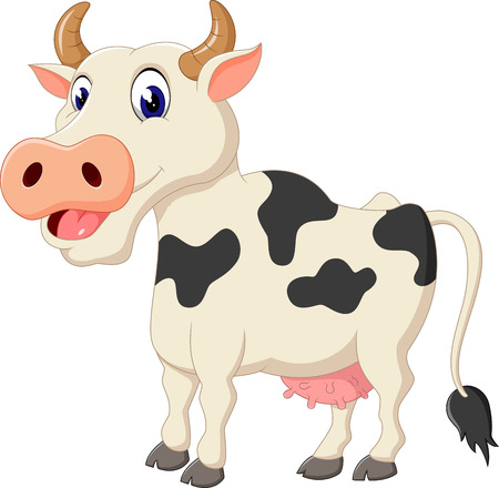 happy farmer: Cute cow cartoon Stock Photo