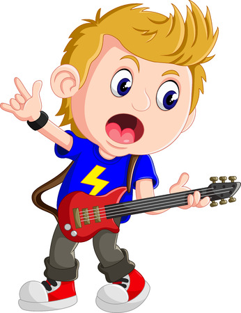 boy playing guitar: Little boy playing guitar Illustration