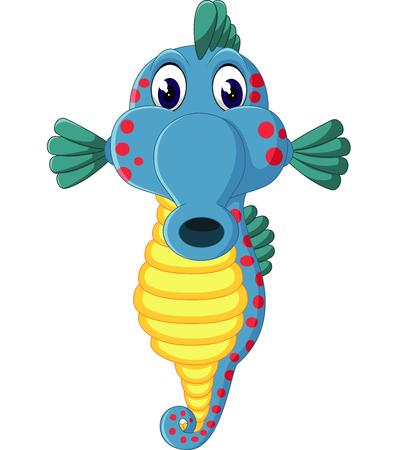 horse sea: Cute sea horse cartoon