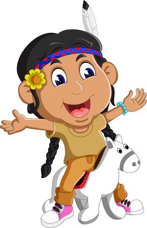petite fille avec robe: Indiens Fille am�ricains � cheval Illustration
