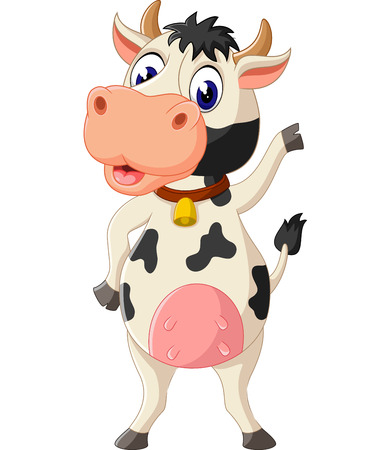 happy farmer: Cute cow cartoon Illustration