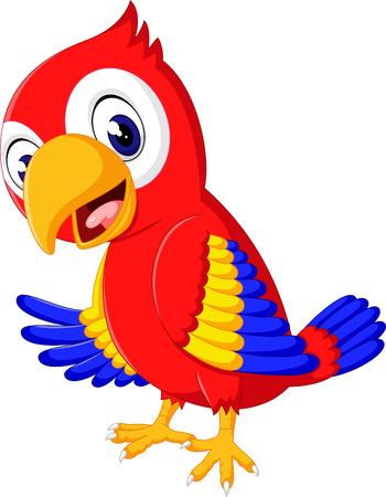 parrot tail: Cartoon cute parrot
