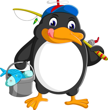 ice fishing: Penguin is fishing on the arctic ice