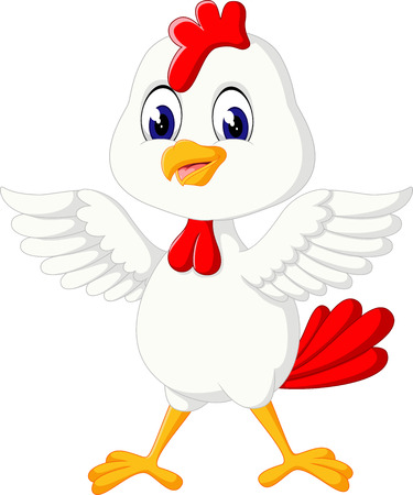 poultry farm: Cute rooster cartoon presenting