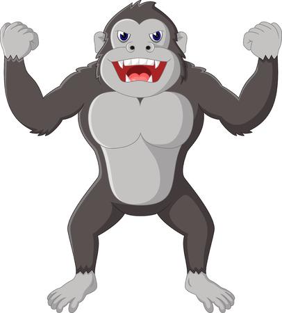 affectionate: gorilla cartoon Illustration