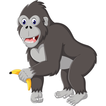 Angry gorilla cartoon 矢量图片