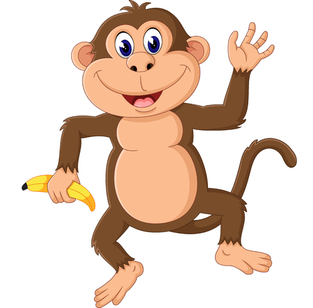 cheerful cartoon: Cartoon monkey presenting