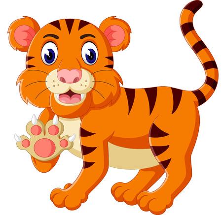 tigre caricatura: Lindo tigre rugiente de dibujos animados