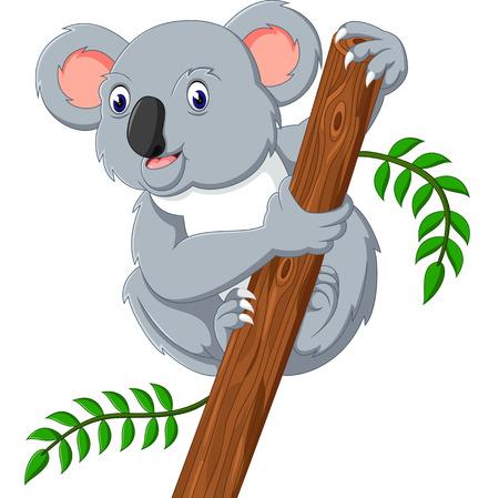 Cute koala holding tree