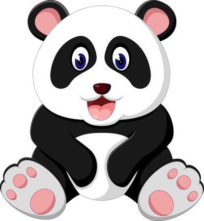 Cute panda cartoon Фото со стока