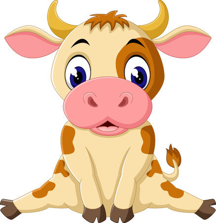 young cow: cute baby cow cartoon