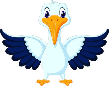 pelican: illustration of cute pelican cartoon