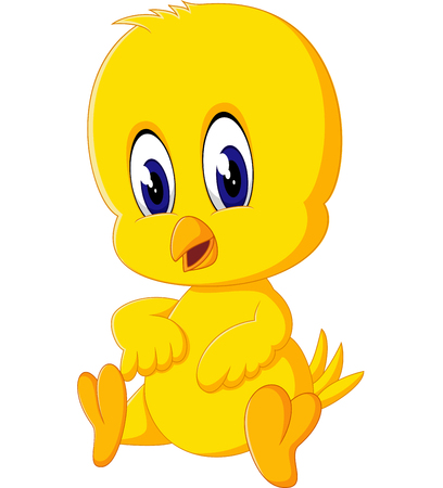 row: illustration of Cute chicken cartoon