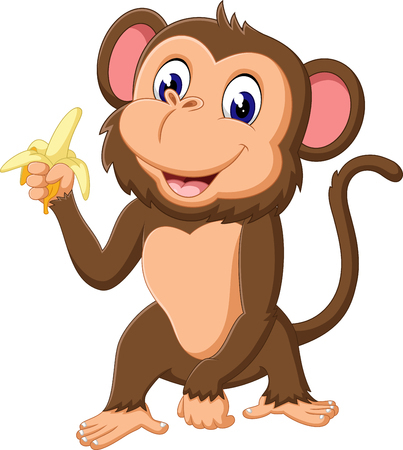 cheerful cartoon: cute Cartoon monkey of illustration