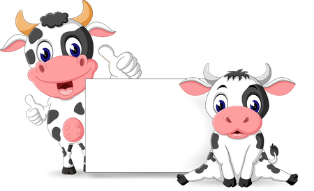 illustration of cute baby cow cartoon