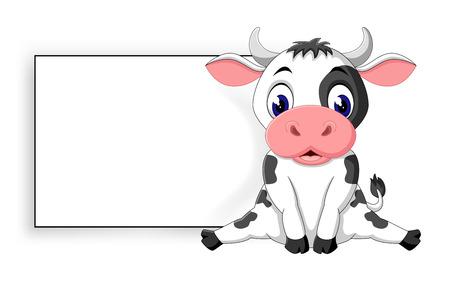 illustratie van schattige baby koe cartoon Stockfoto