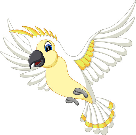 illustration of Cute white parrot flying