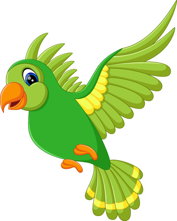 illustration of Cute green bird flying