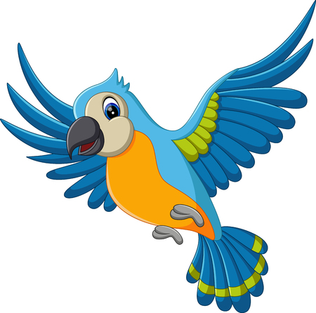 illustration of Cartoon macaw flying