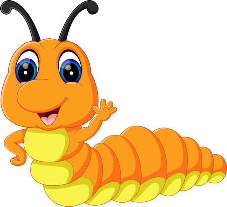 illustration of Cute caterpillar cartoon Vettoriali