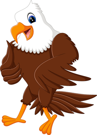 bald: Cartoon bald eagle standing with wings extended