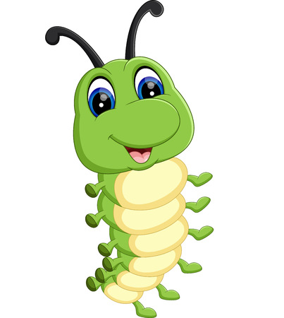 cartoon larva: illustration of Cute caterpillar cartoon Illustration