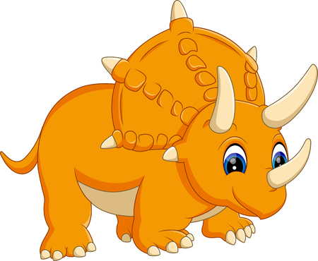 triceratops: illustration of cute Triceratops cartoon