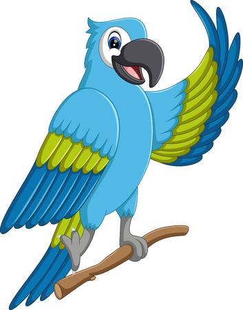 macaw: illustration of Cartoon macaw flying
