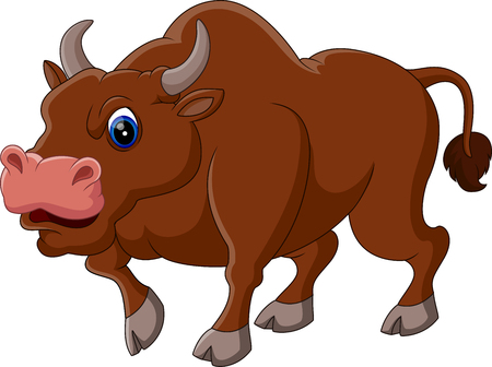 frenzied: illustration of Strong bull cartoon