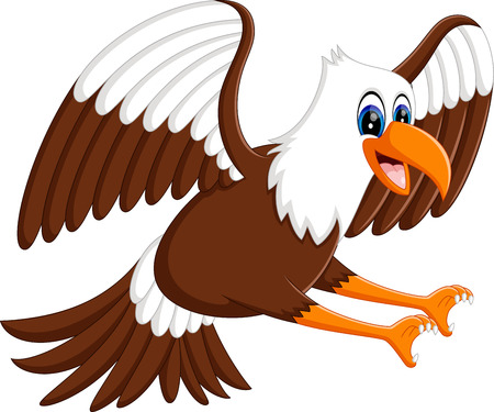 cartoon singing: Cartoon bald eagle standing with wings extended