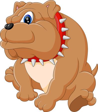 dog pose: Illustration of bulldog cartoon