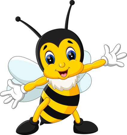 cartoon smile: illustration of Cute bee cartoon