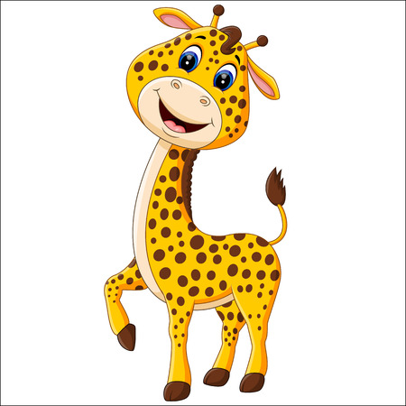 cute: Cute giraffe cartoon of illustration Stock Photo