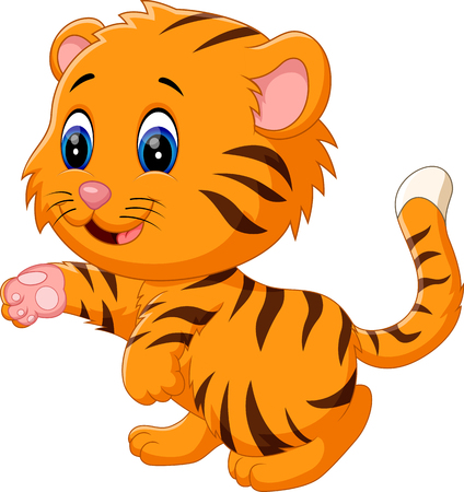 safari animals: illustration of cute baby tiger
