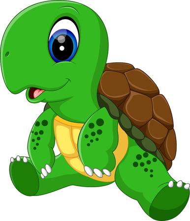 ilustración de dibujos animados lindo de la tortuga