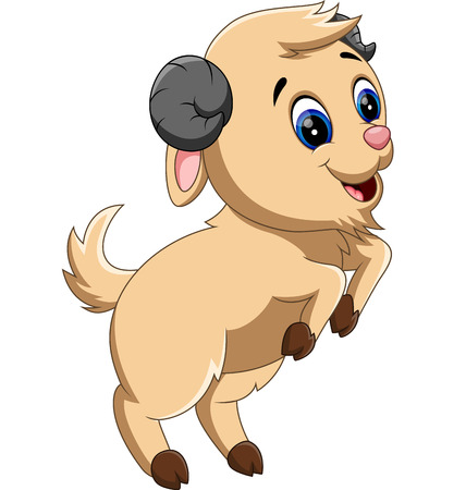 cute cartoon: illustration of Cute cartoon goat Stock Photo