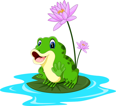 Cartoon cute frog of illustration 向量圖像