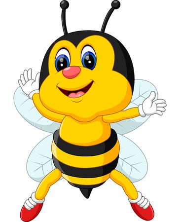 pollinate: cute Bee cartoon flying of illustration Illustration