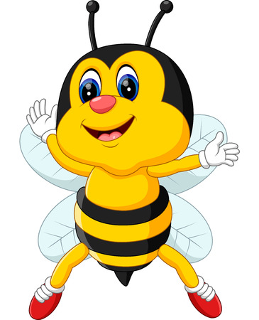 abeja reina: lindo vuelo de la historieta Abeja de la ilustración Vectores