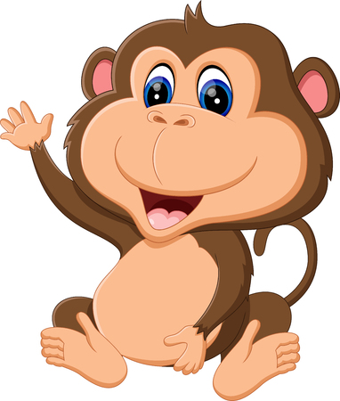 ivy hanging: illustration of Cartoon monkey hanging