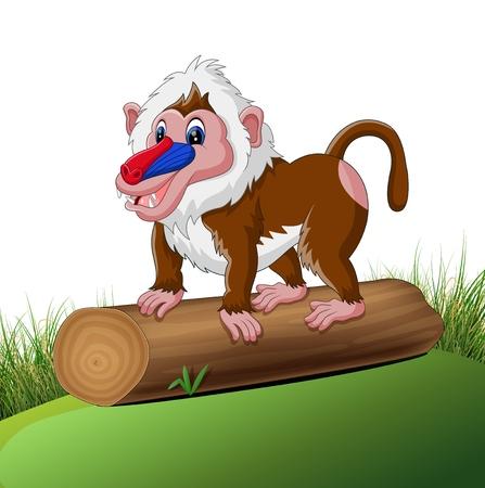baboon: illustration of Cute baboon cartoon Stock Photo