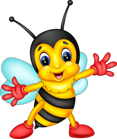 pollinate: cute Bee cartoon flying of illustration Stock Photo