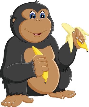 affectionate: Funny gorilla cartoon of illustrationv