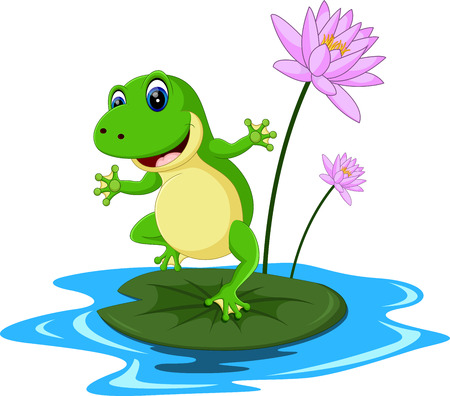 frog on lily pad: funny Green frog cartoon