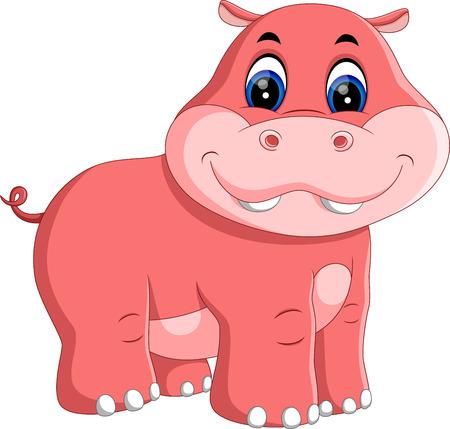 hippo cartoon: illustration of Cute hippo cartoon Stock Photo