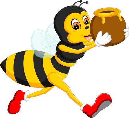 pollinate: illustration of cute bee cartoon Illustration