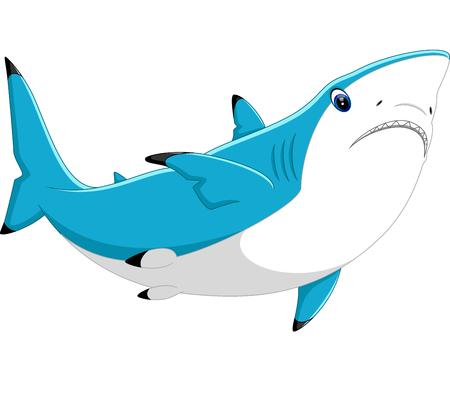 killer waves: illustration of cute shark cartoon