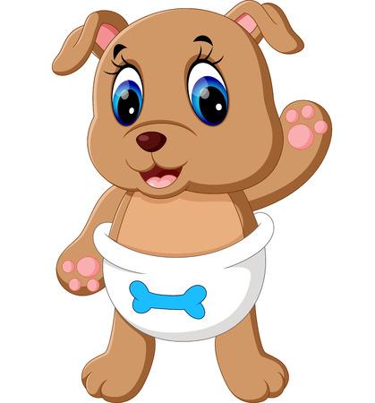 drool: illustration of Cute baby dog cartoon
