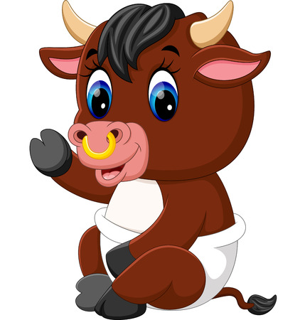 illustration of cute baby bull cartoon