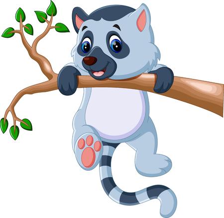 Dibujo animado lindo del lemur Ilustración de vector